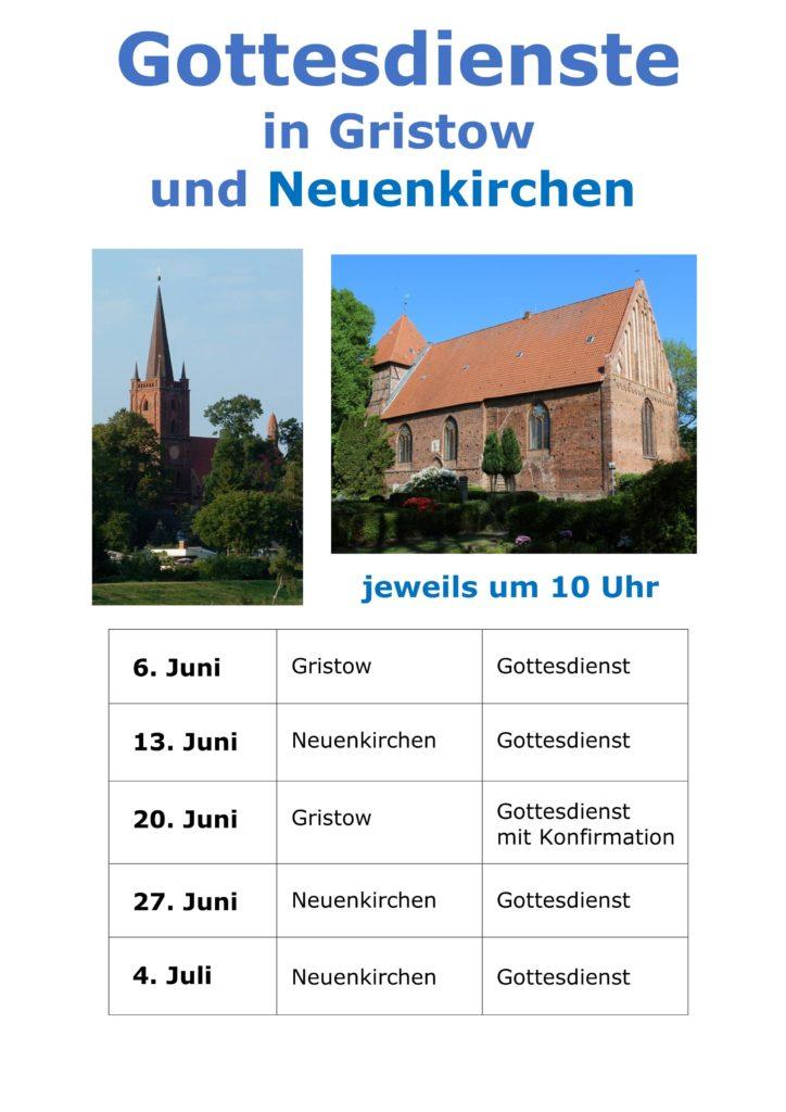 Gottesdienste Juni/Juli 2021 in Gristow und Neuenkirchen